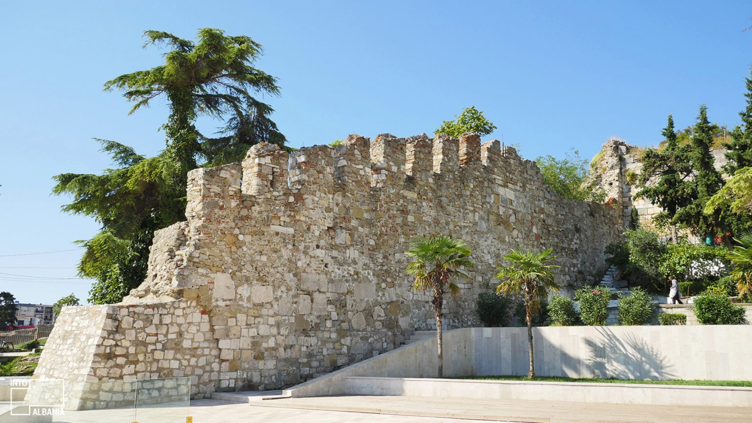 Castle Walls in Illyria Square in Durrës, photo by IntoAlbania.