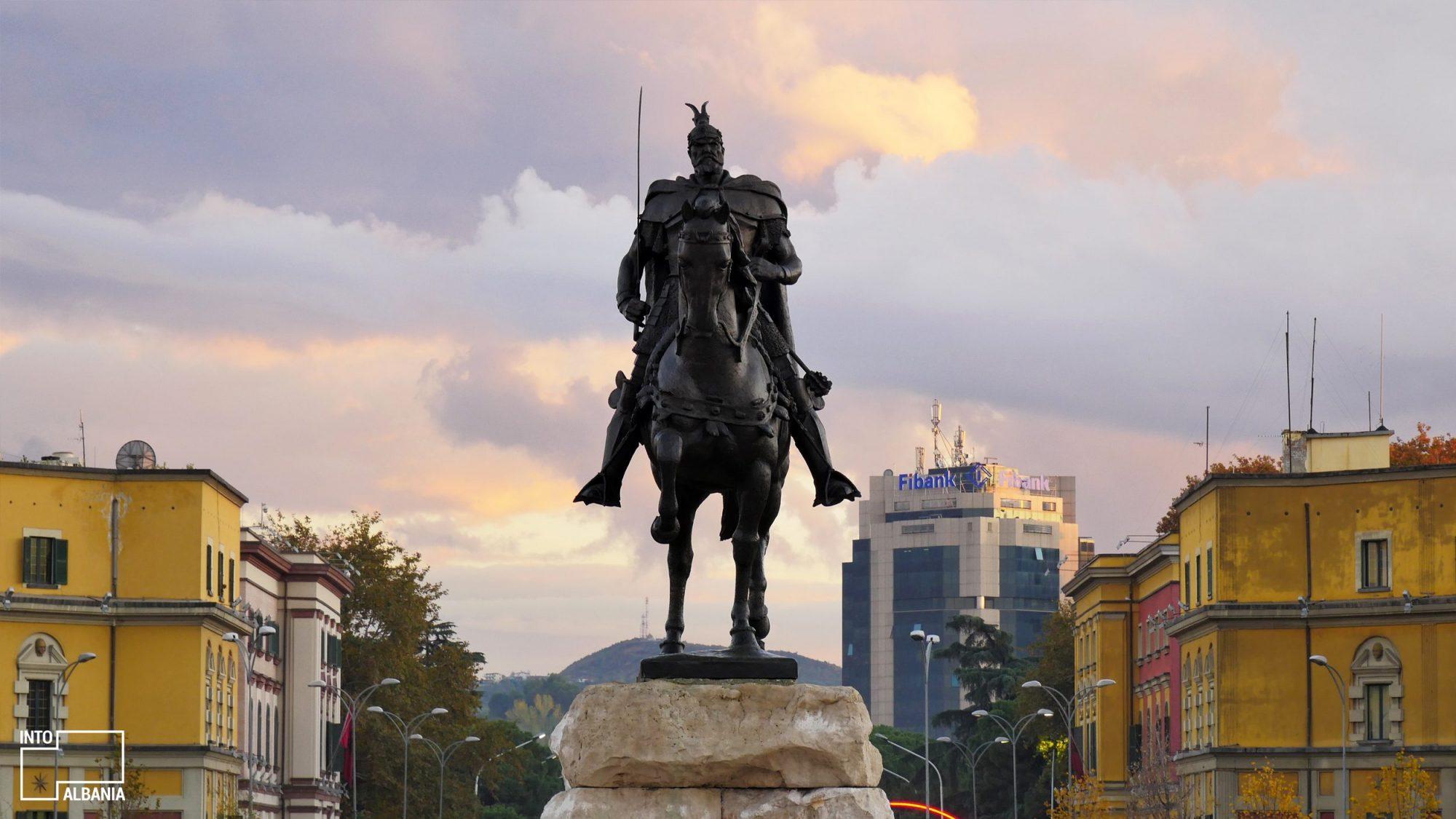 The Skanderbeg Statue Tirana