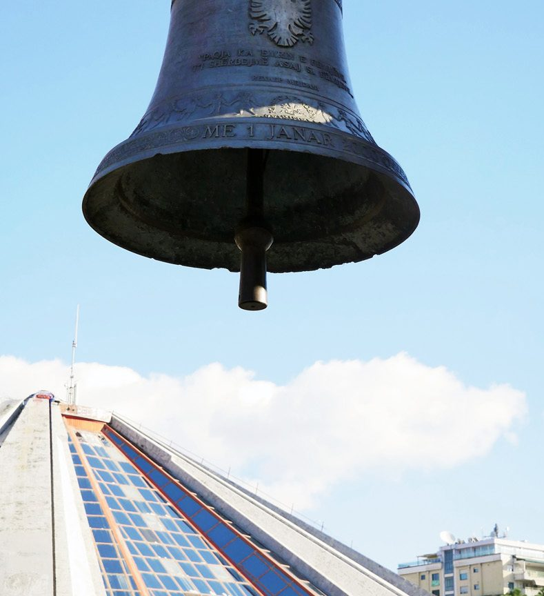 Bell of Peace at the Pyramid of Tirana, photo by IntoAlbania