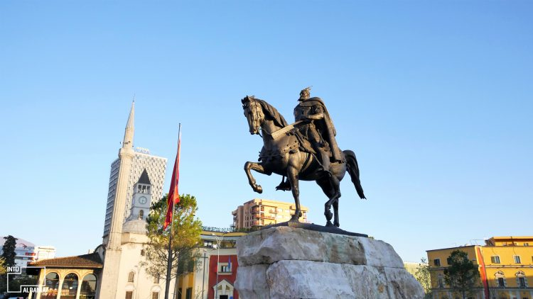 The Skanderbeg Statue in Tirana