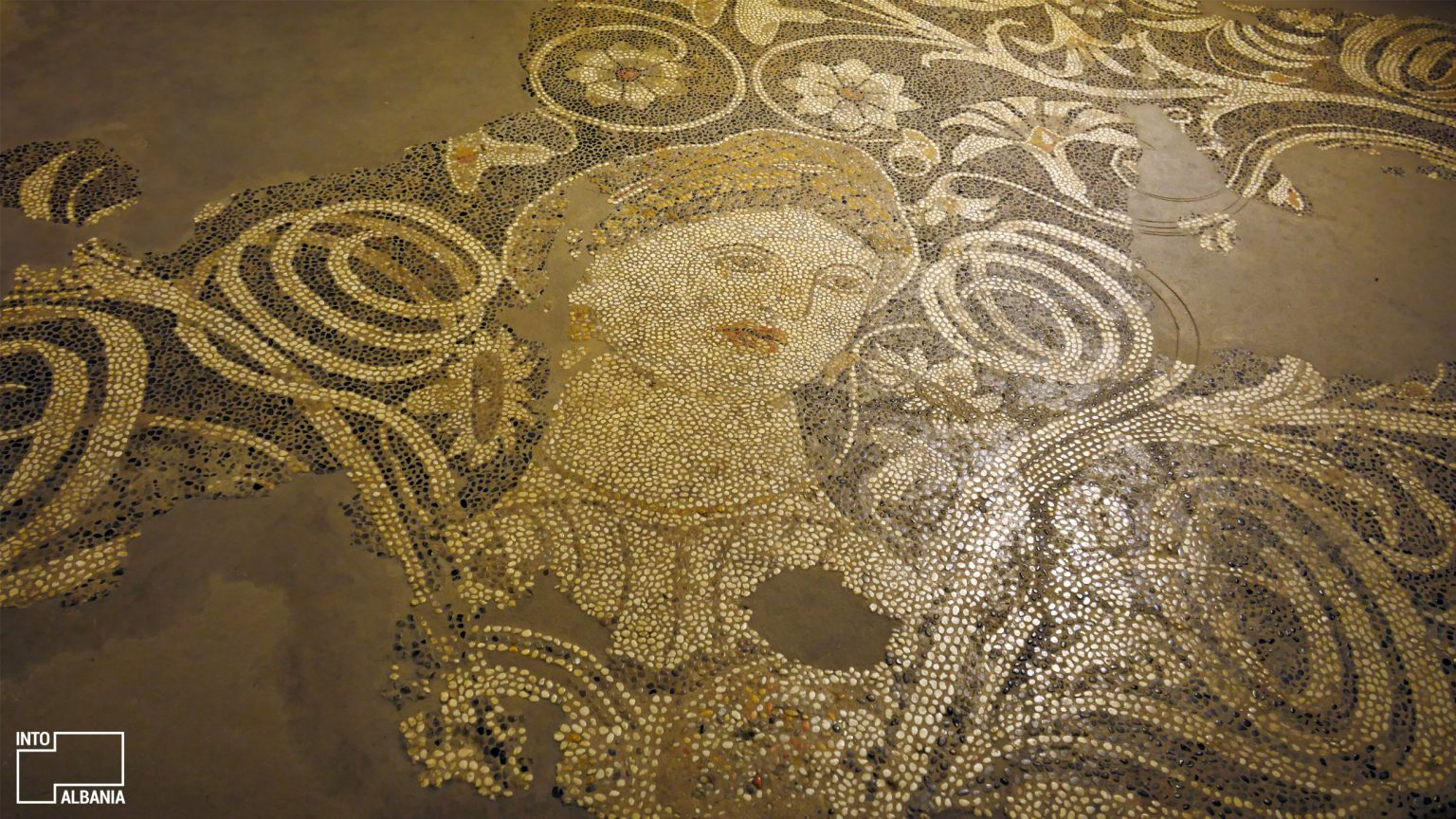 """Beauty of Durrës"" Mosaic, National Museum of History, Tirana, photo by IntoAlbania"
