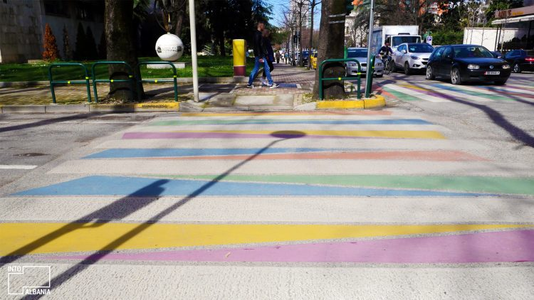 Tirana, the colorful zebra crossing, Street Art