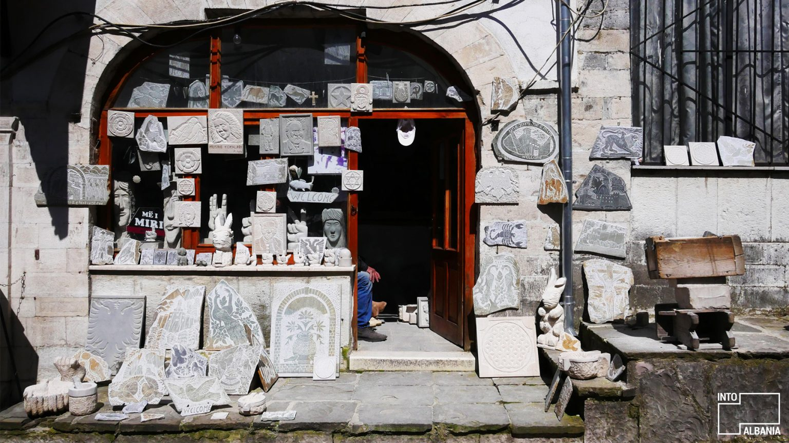 Traditional stone carvings, Old Bazaar in Gjirokastra, photo by IntoAlbania