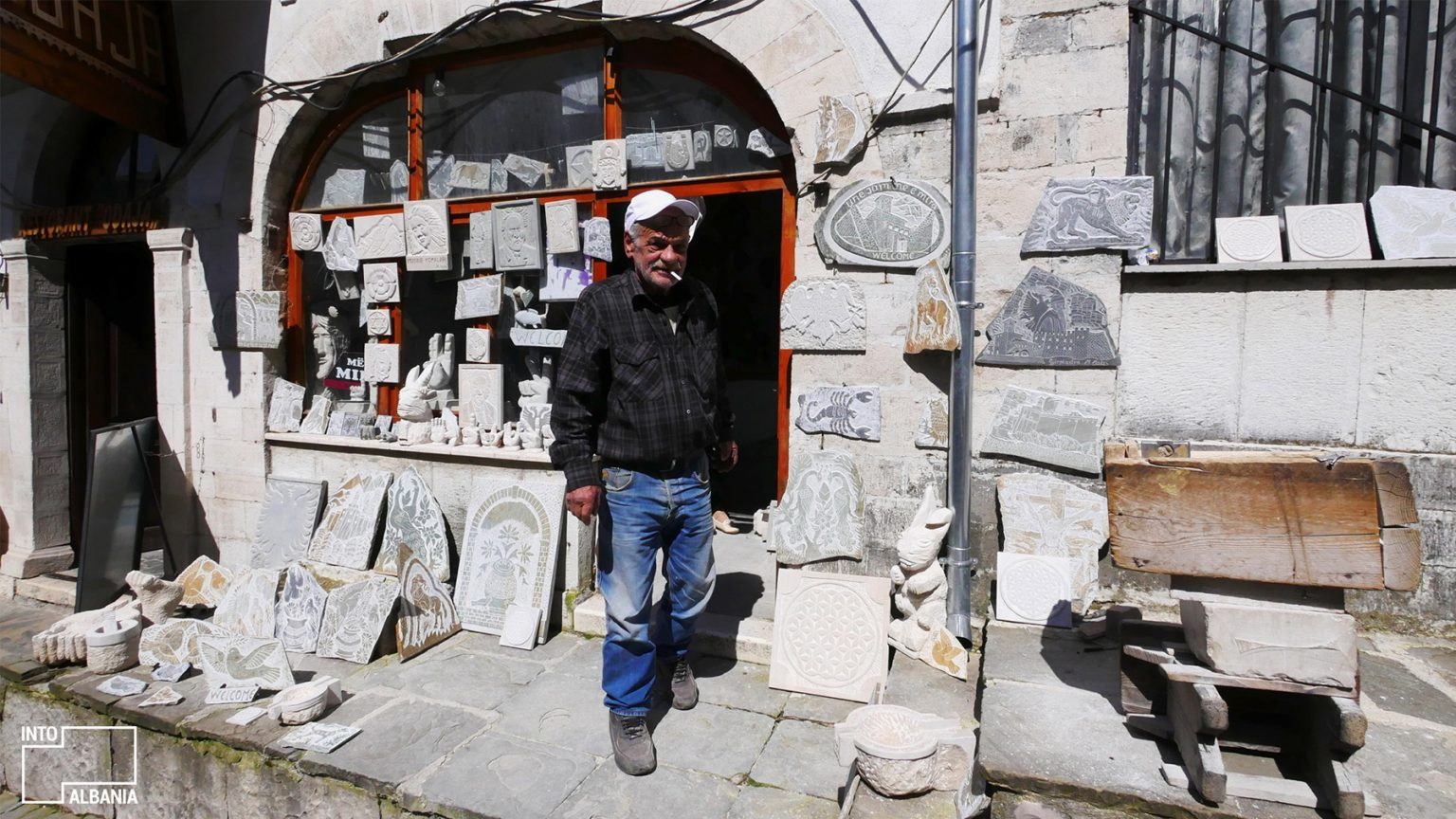 Muhedin Makri, Traditional stone carving, Old Bazaar in Gjirokastra, photo by IntoAlbania