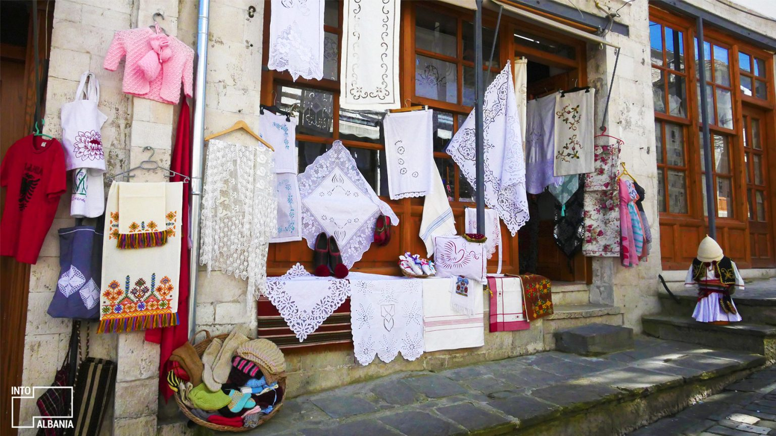 Traditional Embroidery, Old Bazaar in Gjirokastra, photo by IntoAlbania