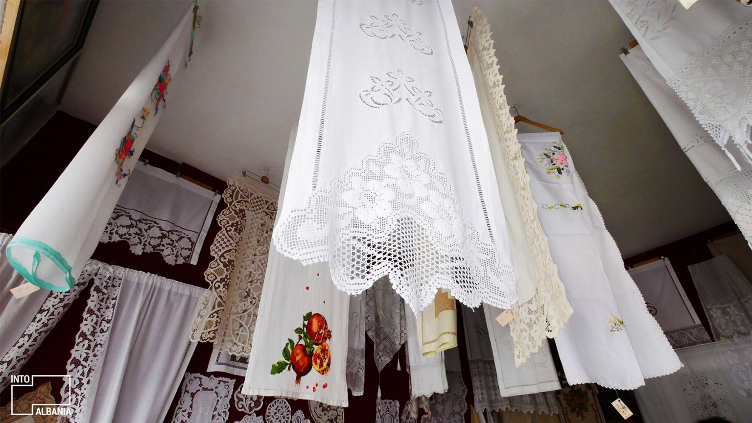 Traditional Embroidery, Old Bazaar in Gjirokastra, photo by IntoAlbania.