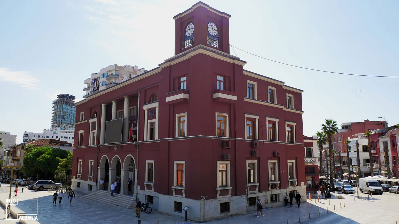 Municipality Hall at the Illyria Square, Durrës, photo by IntoAlbania.
