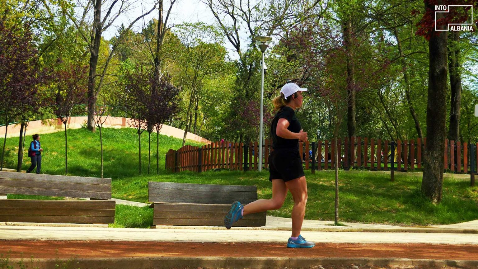 Girl jogging at the Grand Park of Tirana, photo by IntoAlbania
