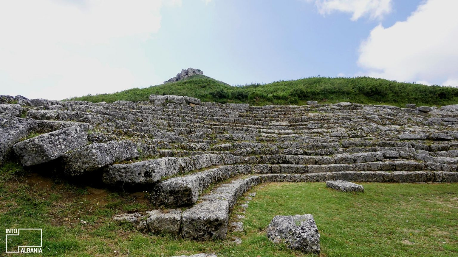 Stadium ruins in Amantia. Photo by IntoAlbania.