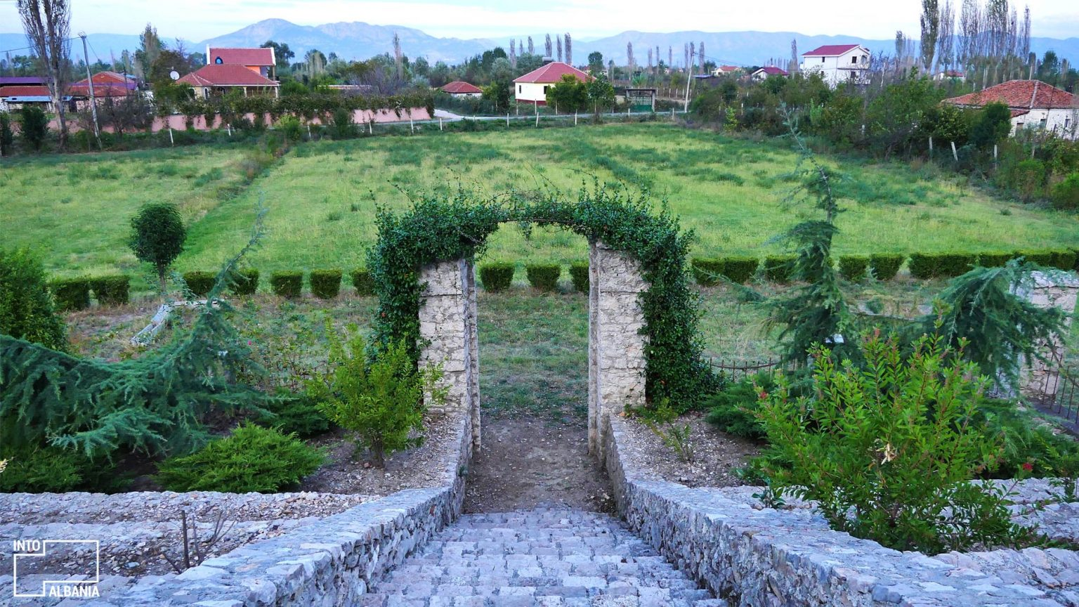 "View of garden from ""Ndre Mjeda"" Center, Shkodra, photo by IntoAlbania."