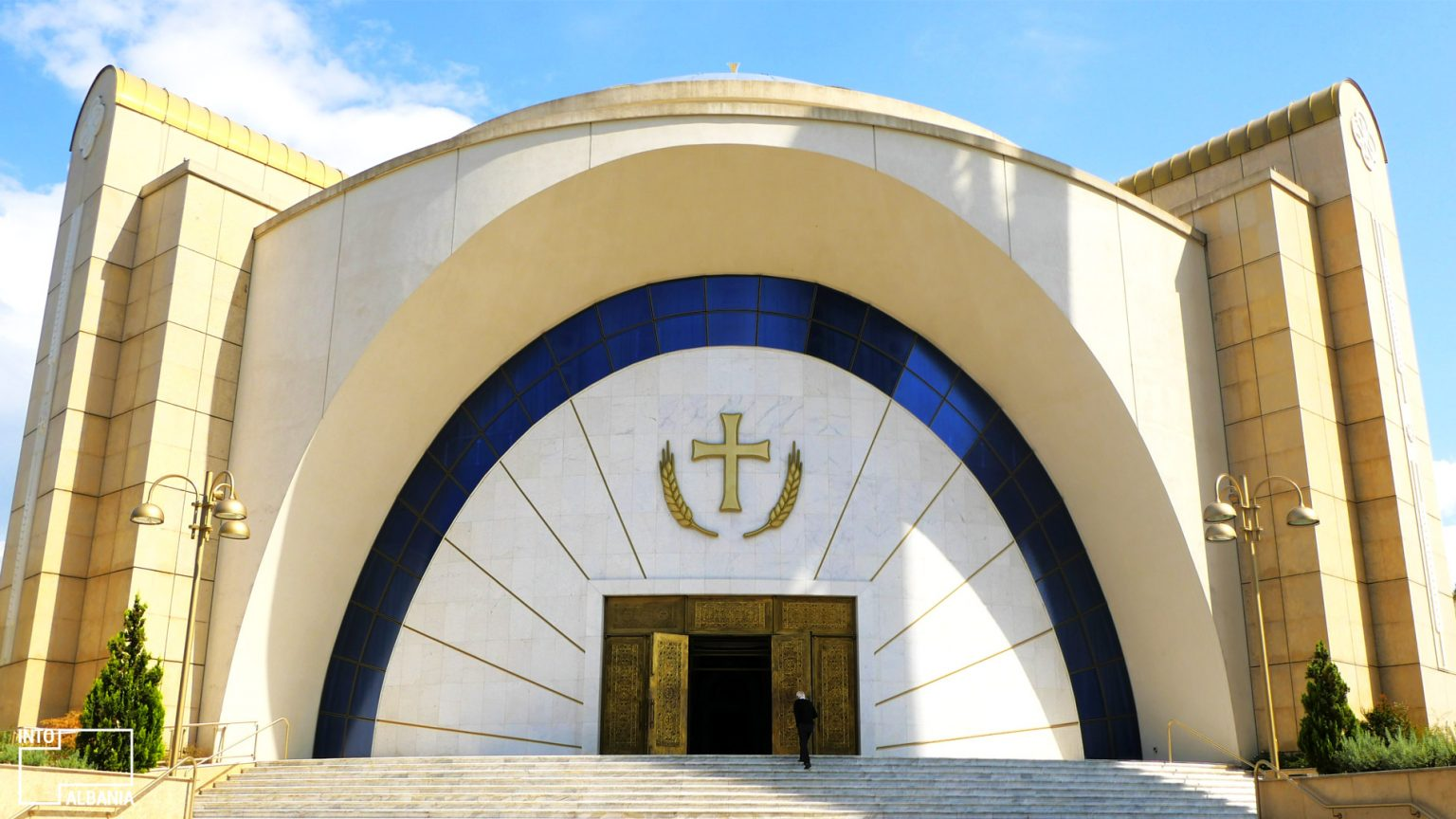 Resurrection of Christ Orthodox Cathedral entrance, photo by IntoAlbania.