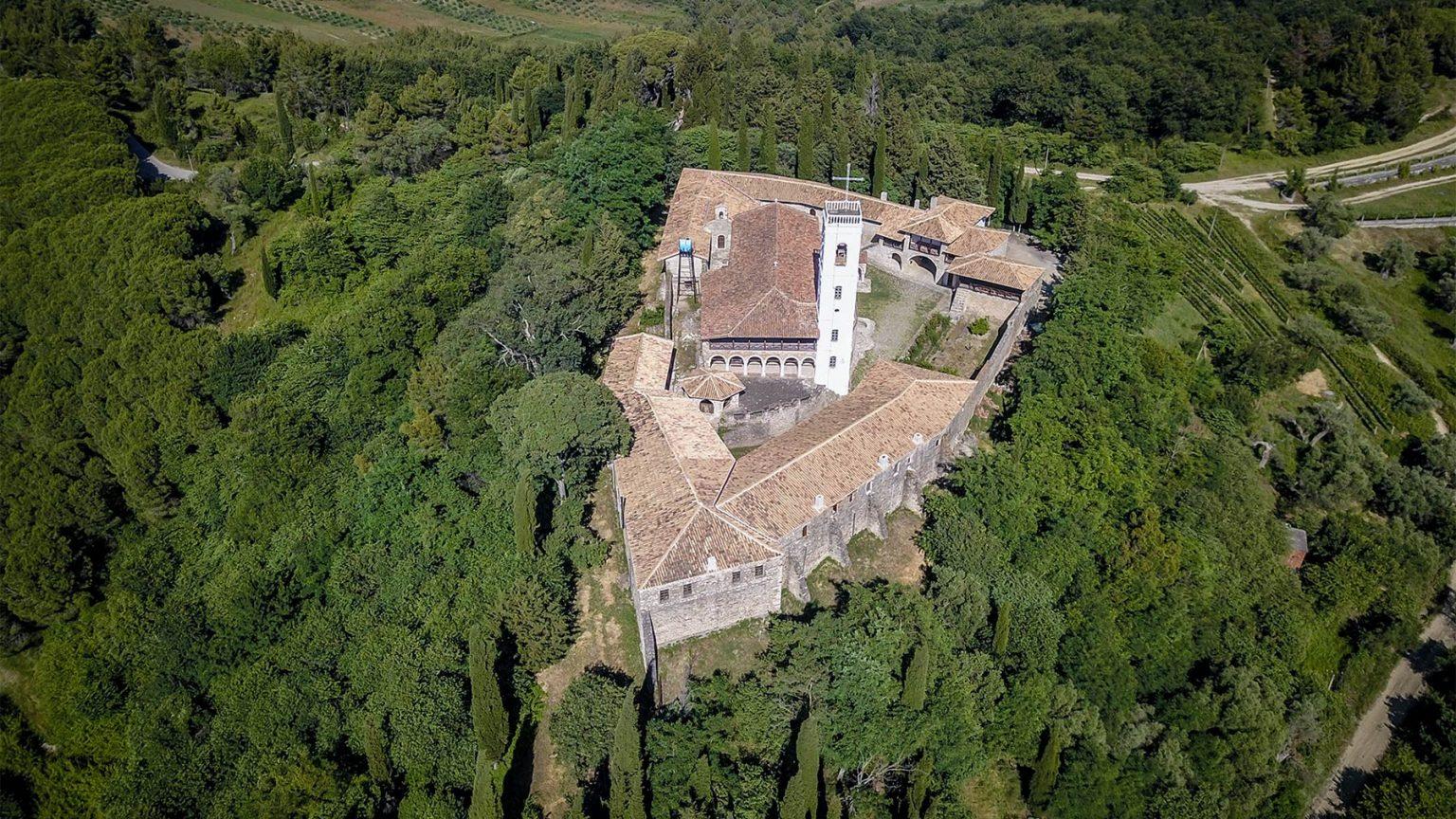 Ardenica Monastery from above, Fier. Photo courtesy of: Enea Musrafaraj
